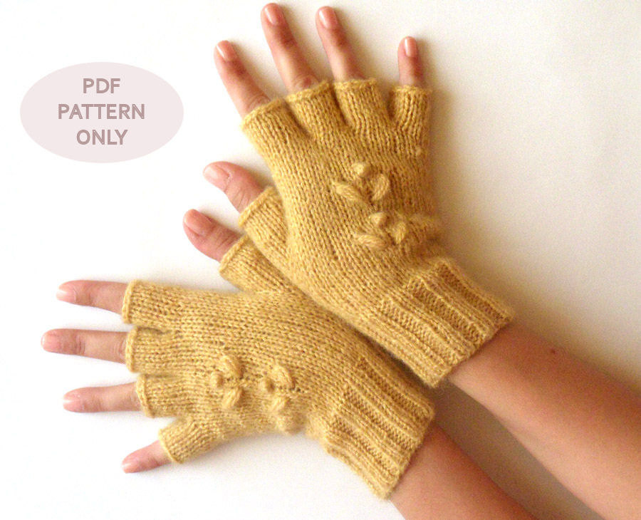 Knit Fingerless Mittens Half Cut Fingerless Gloves Pattern Knit Pattern Knit ...