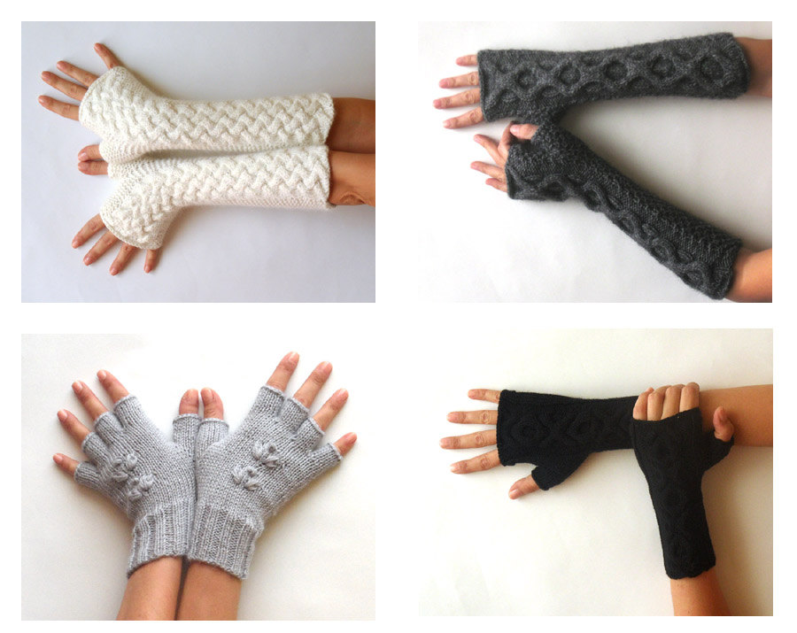 Knit Fingerless Gloves Patterns Cable Mittens Knit Pattern Combo 2 Patterns I...