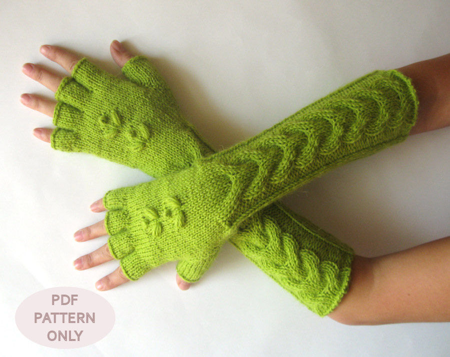 Knit Arm Warmer Pattern : Knit Mittens Pattern Cable Fingerless Gloves Pattern Hand Warmers Pattern Kni...