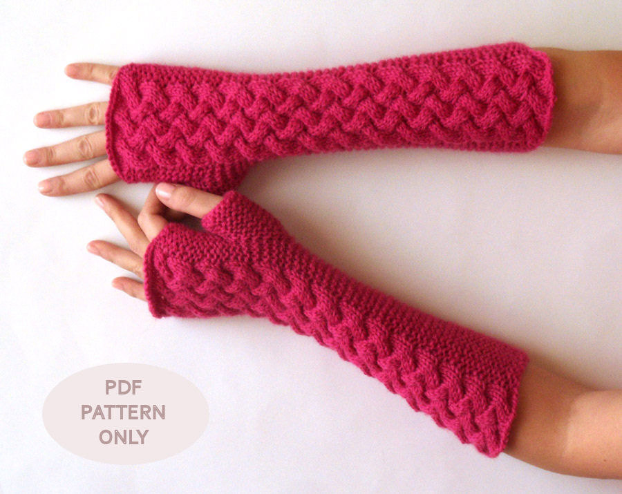Knit Arm Warmer Pattern : Cable Fingerless Gloves Knit Pattern Arm Warmers Pattern Knit Women Fingerles...